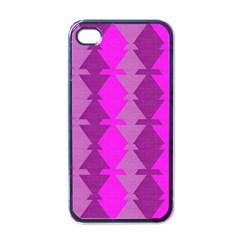 Fabric Textile Design Purple Pink Apple iPhone 4 Case (Black)
