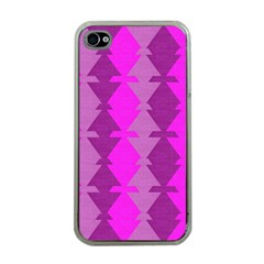 Fabric Textile Design Purple Pink Apple iPhone 4 Case (Clear)