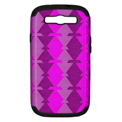 Fabric Textile Design Purple Pink Samsung Galaxy S III Hardshell Case (PC+Silicone)