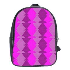 Fabric Textile Design Purple Pink School Bags (XL)