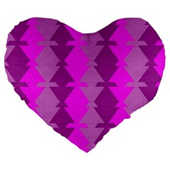 Fabric Textile Design Purple Pink Large 19  Premium Heart Shape Cushions