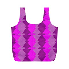 Fabric Textile Design Purple Pink Full Print Recycle Bags (M)