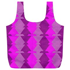 Fabric Textile Design Purple Pink Full Print Recycle Bags (l)