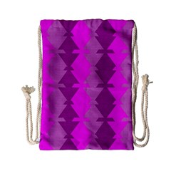Fabric Textile Design Purple Pink Drawstring Bag (Small)