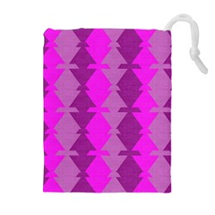Fabric Textile Design Purple Pink Drawstring Pouches (extra Large)
