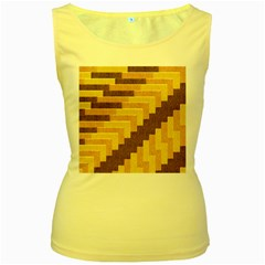 Fabric Textile Tiered Fashion Women s Yellow Tank Top