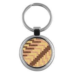 Fabric Textile Tiered Fashion Key Chains (Round)