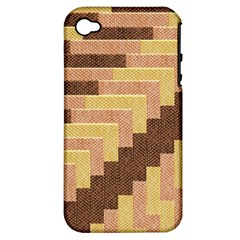 Fabric Textile Tiered Fashion Apple iPhone 4/4S Hardshell Case (PC+Silicone)