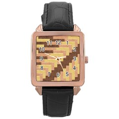 Fabric Textile Tiered Fashion Rose Gold Leather Watch