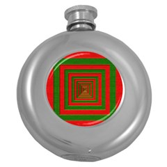 Fabric Texture 3d Geometric Vortex Round Hip Flask (5 oz)