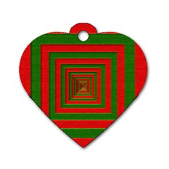 Fabric Texture 3d Geometric Vortex Dog Tag Heart (Two Sides)
