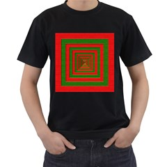 Fabric Texture 3d Geometric Vortex Men s T-Shirt (Black)