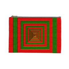 Fabric Texture 3d Geometric Vortex Cosmetic Bag (Large)