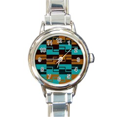 Fabric Textile Texture Gold Aqua Round Italian Charm Watch