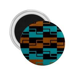 Fabric Textile Texture Gold Aqua 2.25  Magnets