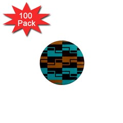 Fabric Textile Texture Gold Aqua 1  Mini Magnets (100 pack)