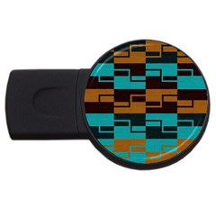 Fabric Textile Texture Gold Aqua USB Flash Drive Round (1 GB)