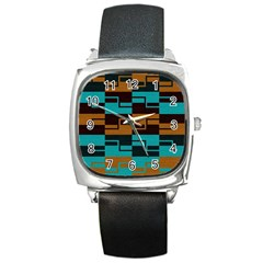 Fabric Textile Texture Gold Aqua Square Metal Watch