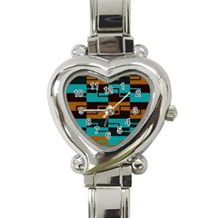 Fabric Textile Texture Gold Aqua Heart Italian Charm Watch