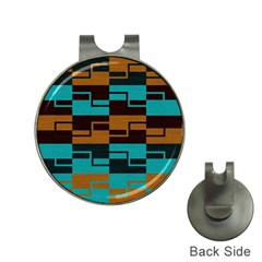 Fabric Textile Texture Gold Aqua Hat Clips With Golf Markers
