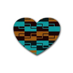 Fabric Textile Texture Gold Aqua Rubber Coaster (heart)