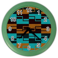 Fabric Textile Texture Gold Aqua Color Wall Clocks