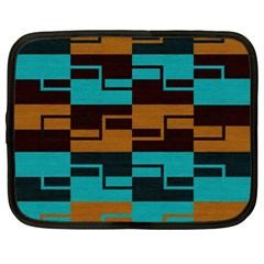 Fabric Textile Texture Gold Aqua Netbook Case (XL)