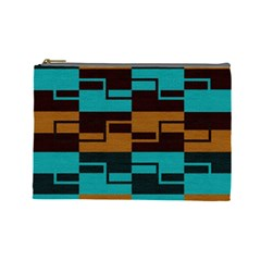 Fabric Textile Texture Gold Aqua Cosmetic Bag (Large)