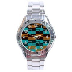 Fabric Textile Texture Gold Aqua Stainless Steel Analogue Watch