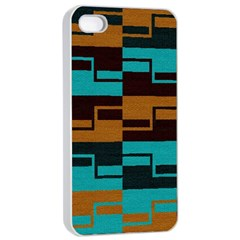 Fabric Textile Texture Gold Aqua Apple iPhone 4/4s Seamless Case (White)