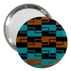 Fabric Textile Texture Gold Aqua 3  Handbag Mirrors