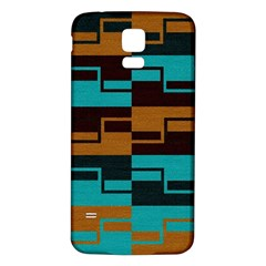 Fabric Textile Texture Gold Aqua Samsung Galaxy S5 Back Case (white)