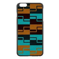 Fabric Textile Texture Gold Aqua Apple iPhone 6 Plus/6S Plus Black Enamel Case