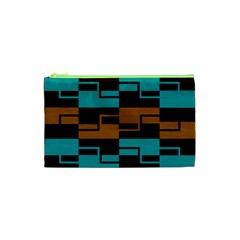 Fabric Textile Texture Gold Aqua Cosmetic Bag (XS)