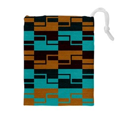 Fabric Textile Texture Gold Aqua Drawstring Pouches (Extra Large)