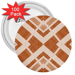 Fabric Textile Tan Beige Geometric 3  Buttons (100 Pack)