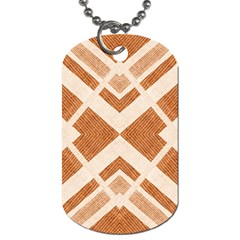 Fabric Textile Tan Beige Geometric Dog Tag (Two Sides)