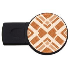 Fabric Textile Tan Beige Geometric USB Flash Drive Round (4 GB)