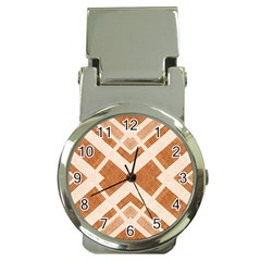 Fabric Textile Tan Beige Geometric Money Clip Watches
