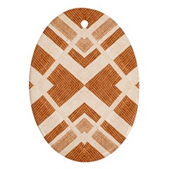 Fabric Textile Tan Beige Geometric Oval Ornament (two Sides)