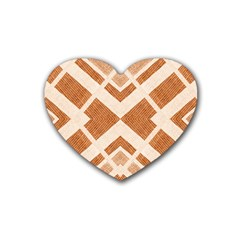 Fabric Textile Tan Beige Geometric Heart Coaster (4 pack)