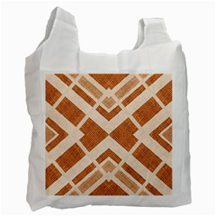 Fabric Textile Tan Beige Geometric Recycle Bag (One Side)