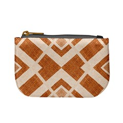Fabric Textile Tan Beige Geometric Mini Coin Purses
