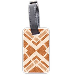 Fabric Textile Tan Beige Geometric Luggage Tags (Two Sides)