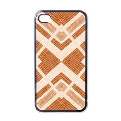Fabric Textile Tan Beige Geometric Apple iPhone 4 Case (Black)