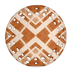 Fabric Textile Tan Beige Geometric Round Filigree Ornament (Two Sides)