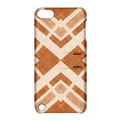 Fabric Textile Tan Beige Geometric Apple iPod Touch 5 Hardshell Case with Stand