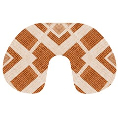 Fabric Textile Tan Beige Geometric Travel Neck Pillows