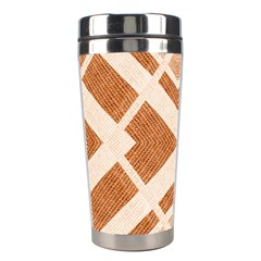 Fabric Textile Tan Beige Geometric Stainless Steel Travel Tumblers