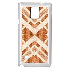 Fabric Textile Tan Beige Geometric Samsung Galaxy Note 4 Case (White)